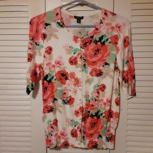 Ann Taylor lightweight floral cardigan sweater